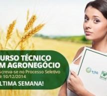 Termina em 10/12 as inscrições para o processo seletivo do curso gratuito Técnico em Agronegócio