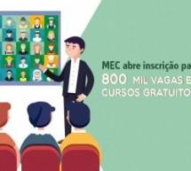 MEC abre inscrição para 800 mil vagas em cursos gratuitos