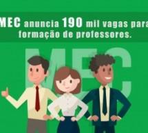 MEC anuncia liberação de 190 mil vagas para formação de professores