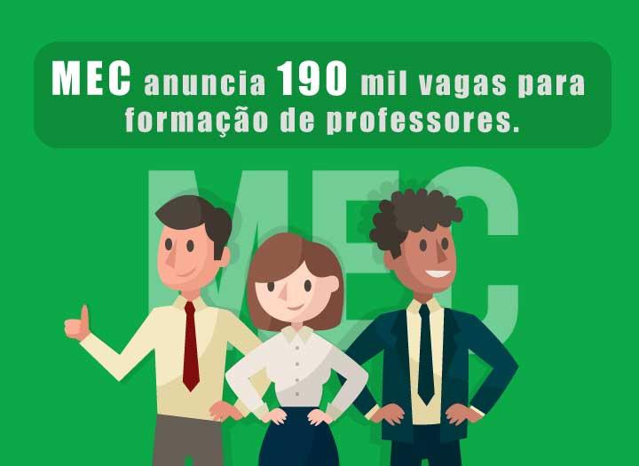 MEC anuncia 190 mil vagas para formação de professores